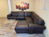 Thick Rich Brown Leather Corner Sofa