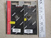 """Two off Trend ¼"""" router collets for Ryobi TR30P. Trend part 50437821."""