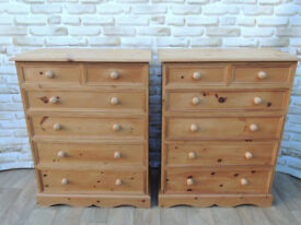 Pair of Heavy duty Welsh Pine waxed chest of drawers x 2 (Delivery)