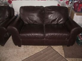 2 x 2 seater leather settee sofas