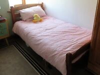 Pine Wardrobe and Single Bed for Sale
