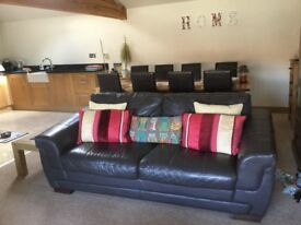 Leather sofa chocolate brown, 3 seater, good condition