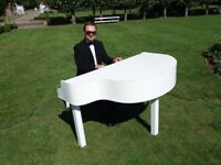 Pro Pianist with White of Black Piano Shell for weddings & events