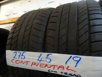 MATCHING PAIR 275 45 19 CONTIS 6MM TREAD £90 PAIR SUP & FITD £160 SET OF 4 (loads more av} TXT S