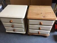 Pine bedside drawers cabinet pair