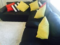 BLACK LEATHER CORNER (also has storage and pull out bed) SOFA AND SINGLE SOFA CHAIR
