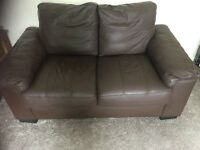 2 Seater brown faux leather sofa in perfect condition