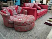 Red and Grey Fabric Sofa Bed, With Swivel Cuddle Armchair and Pouffe