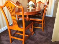 Excellent condition yew wall unit, dining table & chairs, coffee table and units