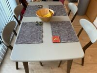 URGENT-MADE : Fjord Dining Table and 4 Chairs Set, Dark Stain Oak and Grey