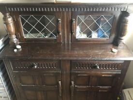 wooden sideboard with upper glazed doors