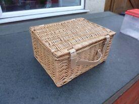 Small wicker hamper basket.
