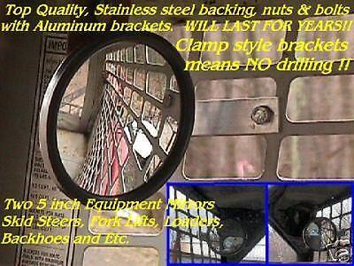 2 MIRRORS SKIDSTEER Forklift Loader skid steer backhoe Fits: bobcat cat gehl etc