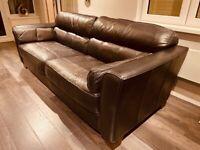 4 Seater black leather sofa