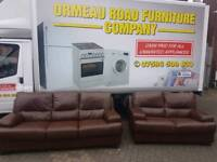 3+2 brown leather sofa