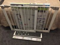 2 x gates + 2 extensions, New+Used Lindam Sure Shut Orto Pressure Fit Safety Gates + Extensions