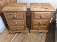 SOLID RECLAIMED PINE BEDSIDE DRAWS X 2 HAND MADE BY FAMILY BUSINESS