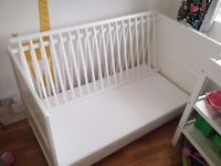 White Kiddicare Chloe Cotbed (70x140) with water resistant matress for sale in Fulham