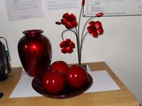 red ceramic ornaments