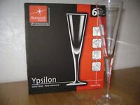 Champagne Flutes - Bormioli Rocco Ypsilon contemporary glasses box of 6