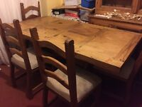 Rustic pine table and 4 chairs