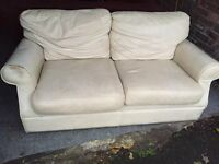 CREAM LEATHER2 SEATER SOFA,CAN DELIVER