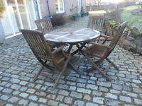 All Wood Garden Table and 4 Chairs