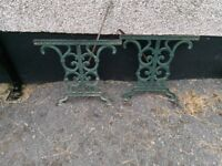TWO CAST iron Table end's