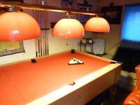 7 FOOT X 4 FOOT SNOOKER TABLE /POOL TABLE, SLATE BED, LOTS CUES, OVERHEAD LIGHTS, GIVEAWAY £400