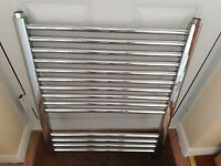 Bathroom Chrome Towel rail heated - unused but unboxed 600mm wide by 700 high