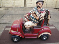 Vintage unique figure Golfer on car