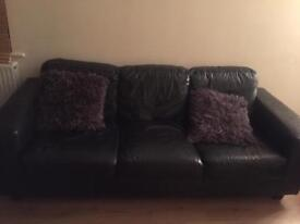 Ikea 2&3 seater sofas in black leather