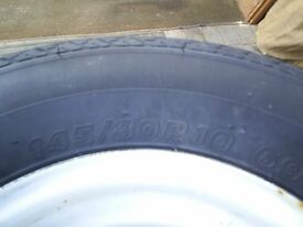 as new whell and tyre from conway trailer tent 145/80 x 10 with 4 stud 4in pdc