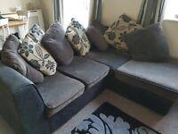 Corner sofa. Black, grey and cream
