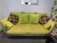 DFS lime green sofa & matching swivel chair