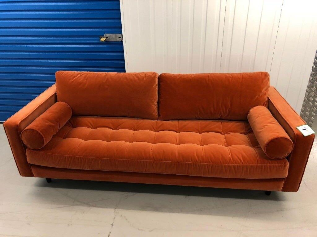 New Ex Display Made Com Scott 3 Seater Sofa In Orange Velvet Rrp 999 In Norwich Norfolk Gumtree