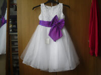 """New with Tags Girls White / Purple bridesmaids dress Chest 28"""" Length 31"""""""