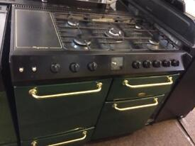 Green & black belling 90cm five burners gas cooker grill & double fan ovens good condition with