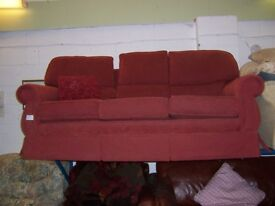 Burgundy 3 seater sofa at Cambridge Re-Use (cambridge reuse)