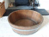 Wooden Oak Barrel Jardiniere Garden Planter Log Holder Wine Cooler Vintage