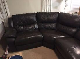 Leather Electric Reclining Corner Sofa