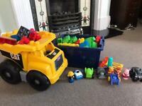 Mega Bloks bundle including Cat dumper truck, vehicles and Winnie-the-Pooh figures