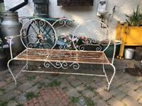 vintage french heavy metal cast iron bistro bench garden seating