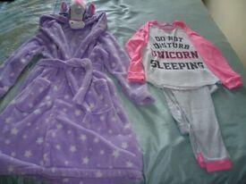 Unicorn Dressing Gown and Pyjama Set age 10-11