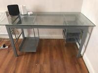 Large glass computer desk