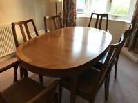 Vintage 1970s Nathan dining table and chairs