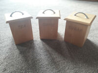 Wooden Tea, Coffee and Sugar Containers