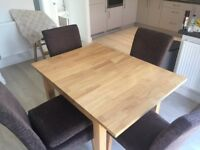 Solid Wood Dining Table and Four Chairs
