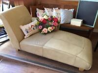 Cheap Cream Leather Chaise Longue