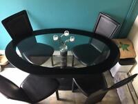 Glasses table with 4 chair Faux leather Black